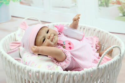 Lifelike Reborn Baby Dolls Rooted Mohair Silicone Vinyl Fake Newborn Baby Doll
