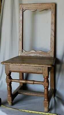 Rare early 18th william & mary oak side chair ca 1730 Quebec turned legs seat