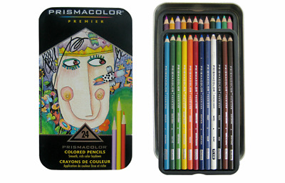 Prismacolor Premier Soft Core 24 Colored Pencil Set Prismacolour Tin
