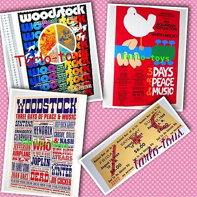 WOODSTOCK POP FESTIVAL 1969 - Lim.ed. 50th anniversary 3 repro poster + ticket