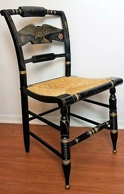 Lovely Ethan Allen Hitchcock Eagle Desk Chair - Rush Caned Black Lacquer Stencil