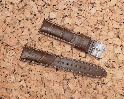 Genuine Leather Padded Alligator Grain Watch Strap 22mm Brown / by Geckota