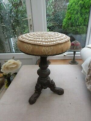 Antique very ornate circular piano stool/stool adjustable carved faces  stunning
