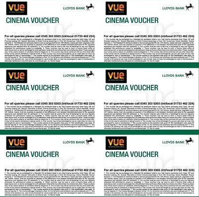 Six (6) VUE CINEMA TICKETS Expires 11 April 2020