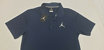 Men's Nike Air Jordan Jumpman Dri-Fit Golf Polo Shirt Navy Blue White 865856419