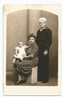 WW2 Era Real Photo Post Card of US Navy Seabee & Family