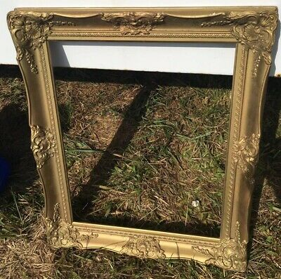 Vtg picture Mirror frame wood gesso Recoco gold Gilded 16x20 Ornate