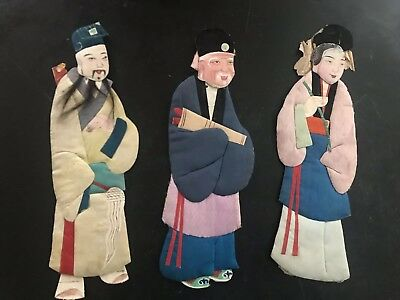 19Th Century Chinese Immortals In Padded Silk Offering 2 Lots Of 3 Figures