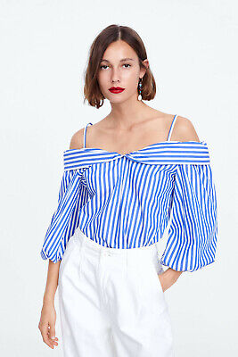 9453a0f7 ZARA BLUE AND white striped off the shoulder top size XS - $8.48 ...