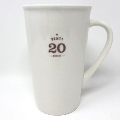 STARBUCKS 2010 Venti 20 Ounces White Tall Ceramic 20oz Coffee Latte Mug Cup EUC
