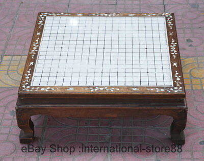 """24"""" Old China Huahuali Wood Shell Carving Dynasty Game of Go Weiqi Chessboard"""