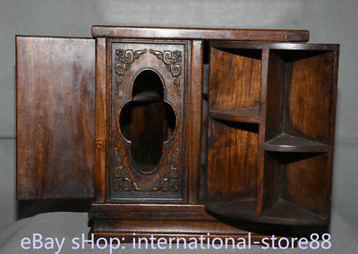 "14.4"" Old Chinese Huanghuali Wood Carved Rotate 4 Cabinet Fold locker Furniture"