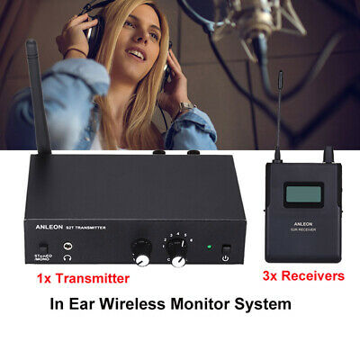 ANLEON S2 UHF Wireless Stereo Monitor System Headphone 1 Transmitter+ 3 Receiver