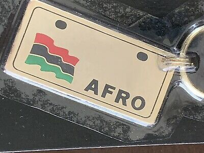 Vtg Retro 80's Afro African License Plate Solid Brass Keychain Old Stock NOS