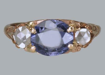 Victorian 2ct Sapphire & Rose Cut Diamond 15ct Gold Antique Trilogy Ring ca 1890