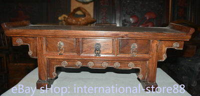 """25.2"""" Old Chinese Huanghuali Wood Carving Dynasty Palace 3 Drawer Censer Table"""