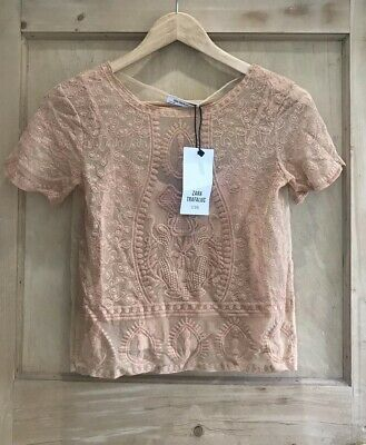 ZARA Embroidered LACE top size S 8 10 Nude Peach Sheer Floral BNWT