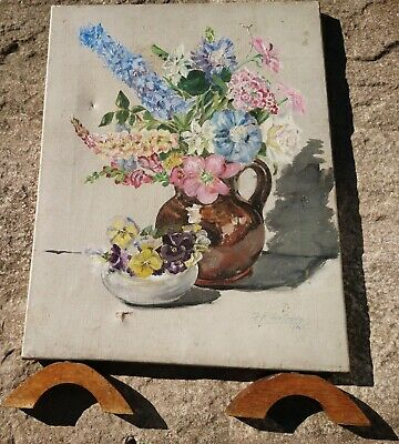 Vintage 1940's oil painted firescreen, floral, signed and dated