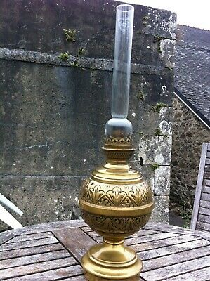 Antique French Brass Oil Lamp c1900 Original glass chimney Good condition.