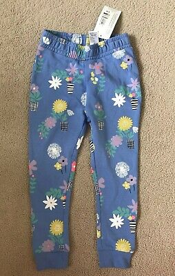 M&S BNWT 3-4 Years Floral Jogging Bottoms Blue Trousers Girl [I combine postage]