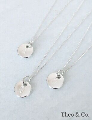 Personalised Initial Letter Disc Pendant Necklace With 925 Sterling Silver Chain