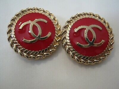 CHANEL  2 CC  LOGO RED, MATTE GOLD  18mm BUTTONS THIS IS FOR TWO