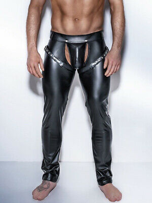 Mens Black Fetish Kinky Stretch Faux Leather Pu Pants/Trousers Gay/Straight