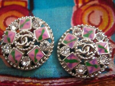 CHANEL  2 AUTHENTIC PINK GREEN  SILVER cc 16 MM BUTTONS THIS IS FOR TWO