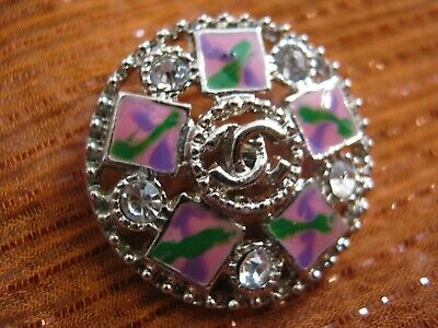 CHANEL  1 AUTHENTIC PINK GREEN  SILVER cc 16 MM BUTTONS THIS IS FOR ONE