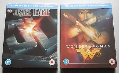 JUSTICE LEAGUE + WONDER WOMAN - 2x UK HMV EXCLUSIVE BLU-RAY STEELBOOK - SEALED