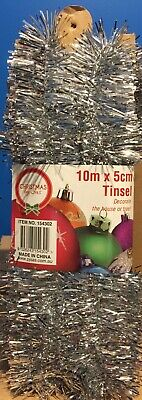 NEW - CHRISTMAS TINSEL - SILVER - 10m X 5cm