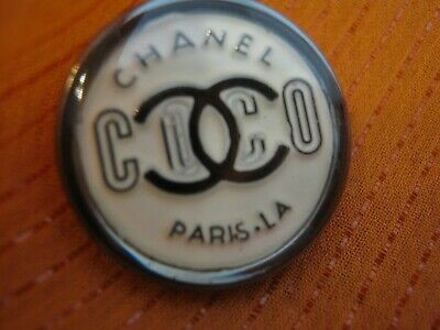 CHANEL  SILVER OFF WHITE BUTTON sz 18mm gold cc logo THIS IS FOR ONE