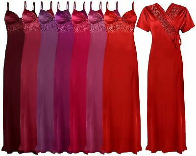 Womens Satin Long Nightdress Ladies Nighty Chemise Embroidery Detailed