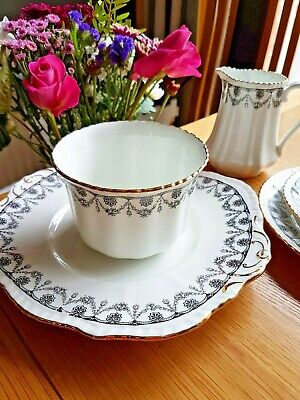 Phoenix Vintage Bone China Trios, jug & sugar, serving plate- Wedding, Tea party