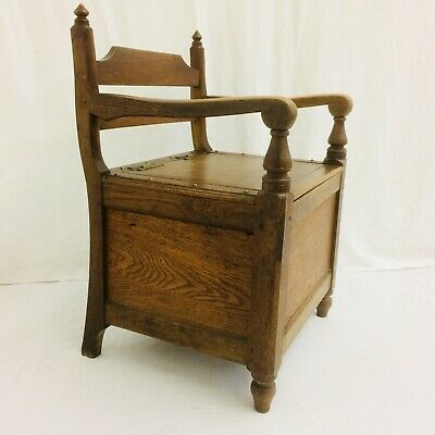 Rare Arts & Crafts * Oak & Brass Feature Studs & Hinges* Commode