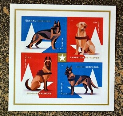 2019USA Forever Military Working Dogs - Block of 4 From Booklet of 20  Mint