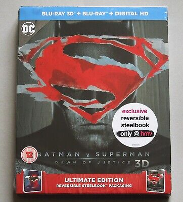 Batman V Superman : Dawn Of Justice - Uk Hmv 3D+2D Blu-Ray Steelbook * New