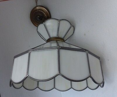 White Stained Slag Glass Ceiling Chandelier Swag Light Hanging Shade Vintage