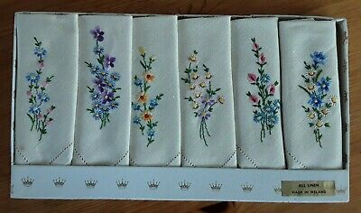 Vintage Embroidered Linen Tea Napkins By Sundew Linens. Made in Ireland