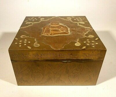 Antique Chinese Table Box Brass w Gilded Buddha Figure on Lid Wood Lined