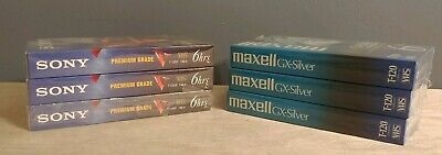 3 Maxell VHS GX-Silver 6 Hour T-120 Video Tapes & 3 Sony T-120 Premium