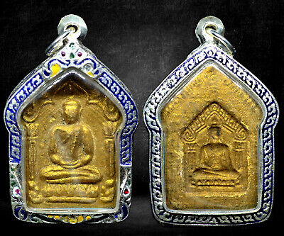 Thai Buddha Amulet Old Rare Antique Phra Khun Paen LP Tim Wat Rahanrai Case #R01