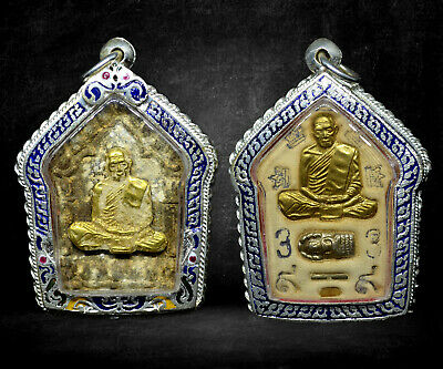 Thai Buddha Amulet Old Rare Antique Phra Khun Paen LP Tim Wat Rahanrai Case #R02