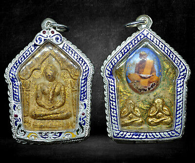 Thai Buddha Amulet Old Rare Antique Phra Khun Paen LP Tim Wat Rahanrai Case #R04