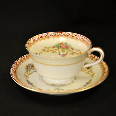 Noritake Occupied Japan Cup & Saucer Red Scroll Work Floral Garland w/Gold