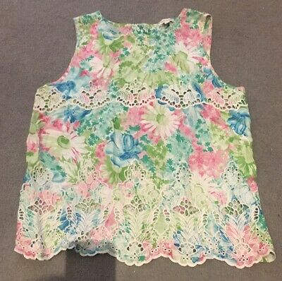 Ladies Girls River Island Blue Green Pink Floral CutOut summer Party Top Size 12