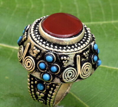 Afghan Kuchi Carnelian Ring Tribal Tower Ethnic Bohemian Jewelry Carved Boho
