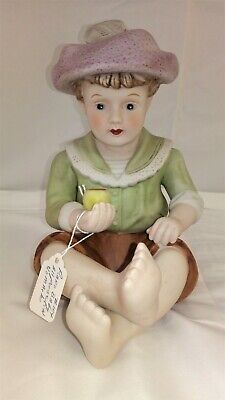 Vintage Piano Baby Bisque Porcelain Boy Holding Apple