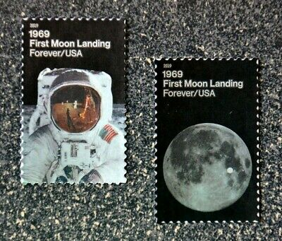 2019USA #5399-5400 Forever - First Moon Landing 1969 - Set of 2 Singles  Mint