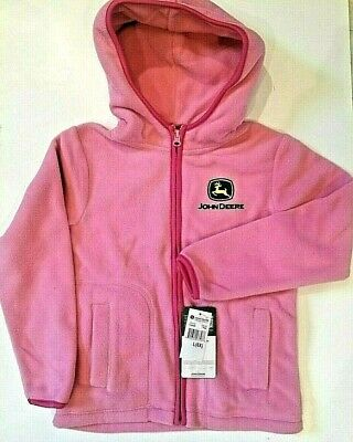 New John Deere Pink Fleece Zip Girls Jacket Size 6X